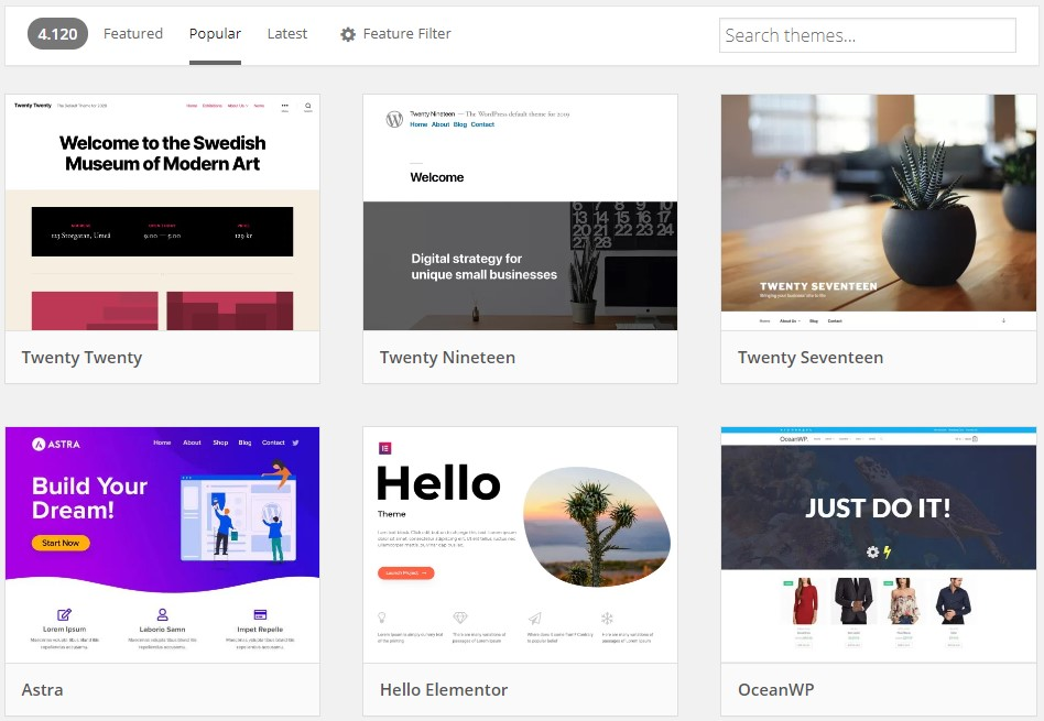 De officiele WordPress thema bibliotheek