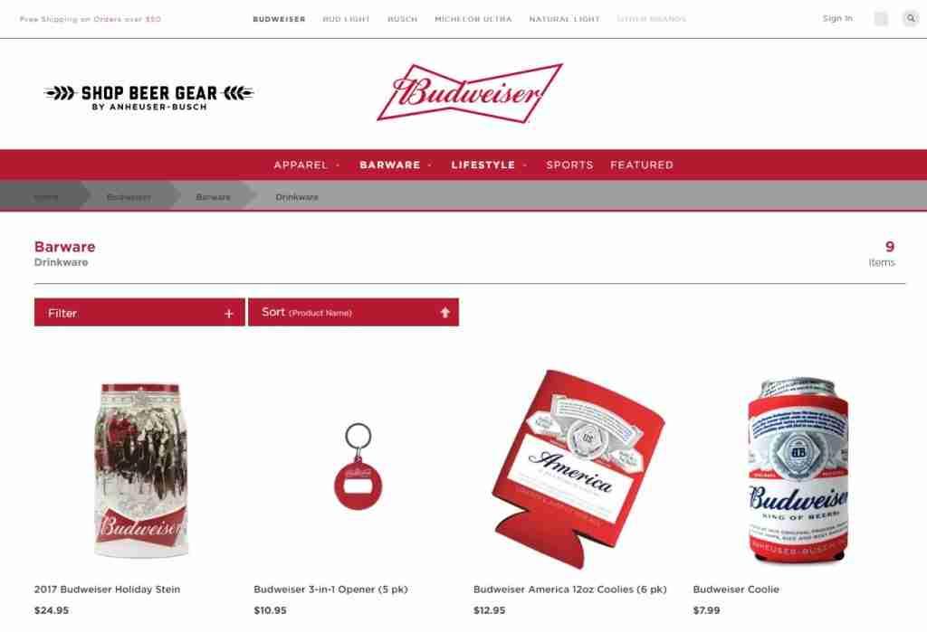 Shopify webshop van Budweiser